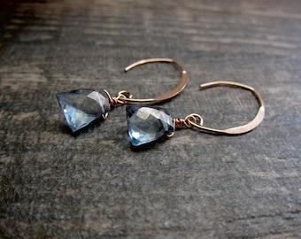 Rose Gold Earrings,Rose Gold Hoop Earrings,Rose Gold Hoops,Raw Gemstone Earrings,Rose Gold Raw Gemstone,Aqua Aura Quartz Earrings,Aqua Aura