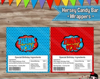 Superhero Candy Bar Wrappers Chocolate Bar Wrappers Thank You Superhero PopArt Birthday Party Supplies - Digital JPG Files INSTANT DOWNLOAD