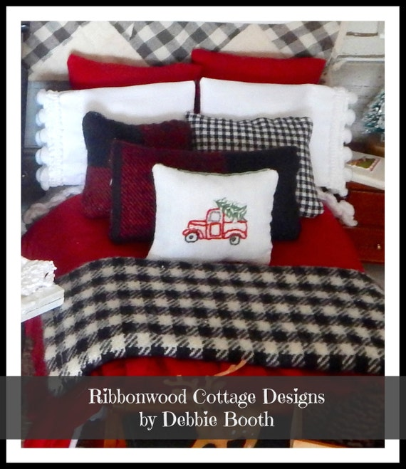 PDF Sewing Pattern Miniature Christmas Rustic Winter Dollhouse Bedding Pattern PDF -1:12 scale