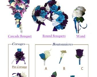 Build your wedding package-Keepsake artificial silk flowers Malibu Turquoise Blue purple lavender bouquet corsage broom basket pillow wand