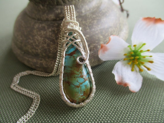 Mountain Turquoise Wire Wrapped Cabochon Pendant Necklace N54181