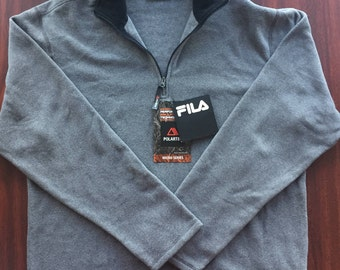 FILA Grey Polartec Fleece Size Large Quarterzip New With Tags NWT