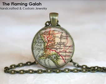ADELAIDE Map Pendant •  Vintage Adelaide •  Old Adelaide Map •  South Australia •  Made in Australia •  (P1181)