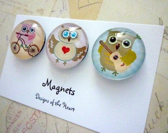 Round Glass Magnet set - Cute Owls