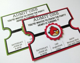 CUSTOM Handmade Angry Bird Movie Ticket Invitation (1)