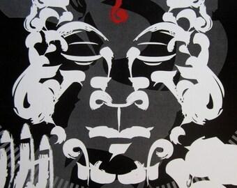 Zen Brush Style Buddha Digital Art Print