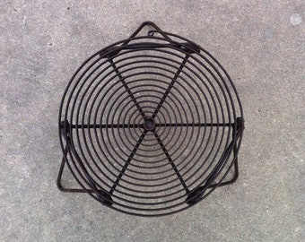 """Camping Spiral Folding Grill Grate With Folding Legs - Rugged Industrial Design, 14"""" Diameter, Outdoor Cooking, BBQ, Clamping, Camp Style"""