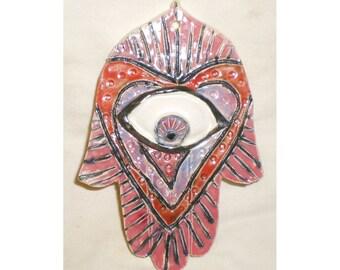 Hamsa With Red Hearts