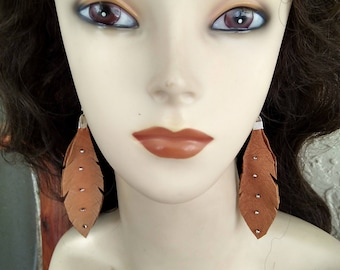Native American Tan Deerskin Leather Feather Earrings With Silver Beads