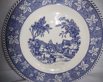 Blue Willow Plate .Horse and Buggy.  Old English Village Plate .Cometry English Plate .Made in England Plate.