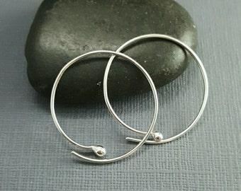 Hoop earrings. Silver Hoops. simple silver hoop earrings. dangle earrings. modern hoops. everyday hoops. minimalist hoops. medium hoops