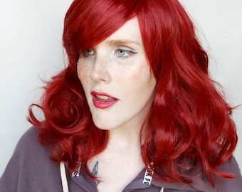 Red wig | Long Red wig, Auburn Red Mermaid wig, Curly Scene wig | Bright Red Hair wig for Halloween, Cosplay wig | Sassy Starfish