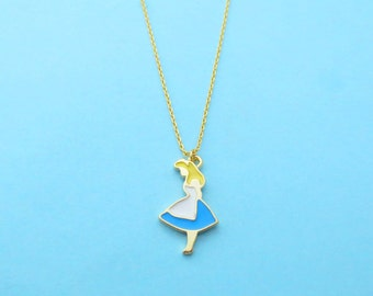 Alice, Gold, Necklace, Alice in wonderland, Jewelry, Birthday, Friendship, Sister, Gift, Jewelry