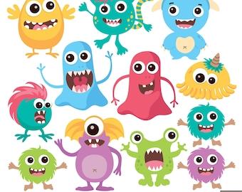 Cute Monsters Digital Clipart