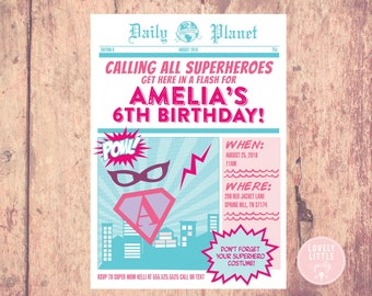 Girly Super Hero Birthday Invitation- Printable OR Printed- Lovely Little Party