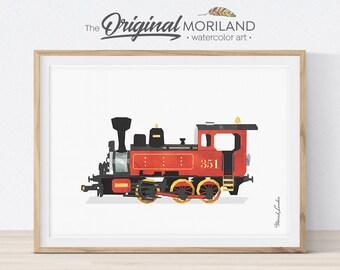 Steam Locomotive Print, Train Printable, Locomotive Art, Train Nursery Print, Play Room Decor, Train Decor, Transportation Prints