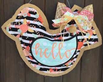 Bird burlap door hanger; hello; welcome door hanger; bird decor; bird door hanger; spring bird decor