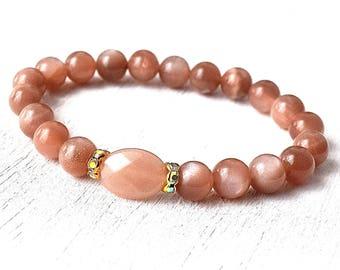 Sunstone Bracelet, Healing Bracelet, Yoga Jewelry, Gemstone Bracelet, Boho Bracelet, Spiritual Jewelry, Joy Bracelet - Risk Taking & Change