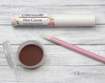 "Vegan Lipstick - ""Hot Cocoa"" natural deep brown all natural mineral lip color"