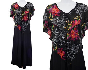10 Dollar Sale---Vintage 70's Black & Colorful Floral Pattern Disco Maxi Dress M