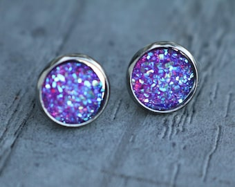 purple stud earrings purple druzy earrings druzy stud earrings faux druzy earrings purple earrings amethyst druzy bridesmaid gifts druzy