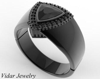 Mens Wedding Band 14K Black Gold 1 Carat Black Diamond Unique Trillion Cut Wedding Ring,Black Gold Black Diamond Ring For Mens,Unique Ring