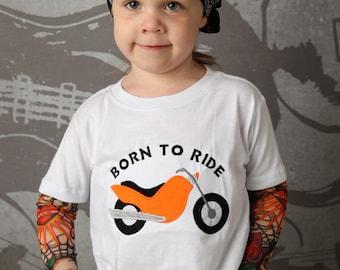 Biker Born to Ride Tattoo sleeve shirt Motorcyle applique