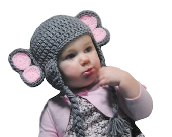 Girls Elephant Hat, Baby Girls Crochet Hat, Newborn Photo Prop, Baby Hat with Ears, Grey Elephant, Kids Animal Hat, Toddler Girl, Knit Hat
