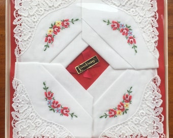 Box of 4 New Vintage Real Guipure Lace Red Roses Embroidered Cotton Lawn Floral Handkerchiefs (Happy to Personalise)