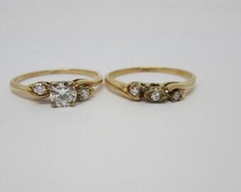 Sale- Ladies Diamond Wedding Set, Vintage Engagement Ring, Vintage Wedding Set, Matching Wedding Set