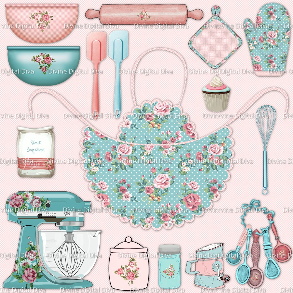Shabby Roses Baking Clipart Pink & Aqua Apron Pot Holder