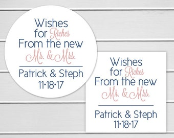 Wishes for Riches Stickers, Lottery Ticket Wedding Labels, Customizable Wedding Stickers (#214-1)
