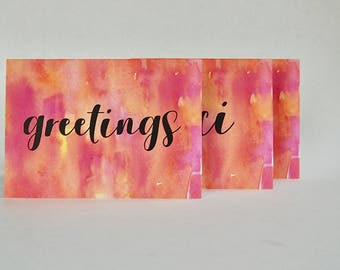 Sunset Inspired Stationery Set with Variety Text  // 6 Folded Cards with Envelopes