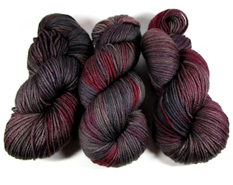 Hand Dyed Yarn Worsted Weight, Variegated, Wine Red, Dark Gray, Soft Black, Mauve, Purple, Sanguine Rose, DYED TO ORDER