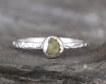 Colored Diamond Ring - Natural Unique Color - Rough, Raw, Uncut Diamond Engagement Ring - Rustic Hammer Finish - Sterling Silver Bezel Set