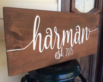 Last Name Wood Sign Custom Personalized Established Est Year Family Home  Decor Photo Prop Rustic Farmhouse