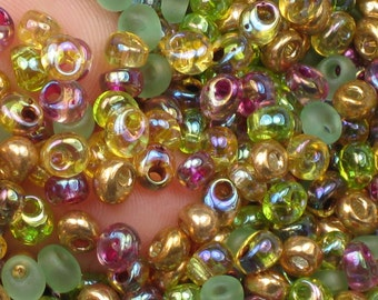 Green Gold Purple AB Magatama Beads, Earth Tone Blend, 10 grams (@115) Miyuki 4mm Oblong Fringe Beads, For Shaggy Loop Jewelry (10gr./pack)