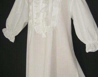 LAURA ASHLEY Vintage Victorian Style Pin Tuck Ruffle Shawl Collar Nightshirt, Medium