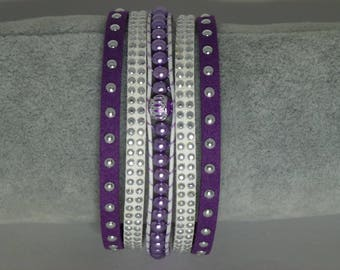 Purple and white suede Cuff Bracelet woven