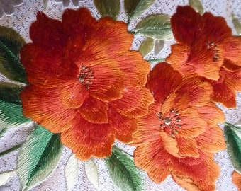 Vintage Japanese obi belt, kimono, obi sash, flower embroidery #13