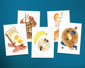 Breakfast Food Illustration Postcard 5 pack
