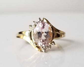 1.75 ct Pink Morganite in 10K Yellow Gold Ring / Natural Oval Cut Unique Vintage Estate Ring Setting / De Luna Gems / Free Shipping!