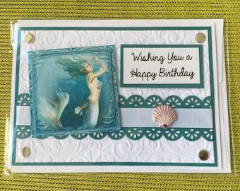 Mermaid Card with Real Shell, Mermaid Birthday Card, Mermaid, Mermaids, Mermaid Card