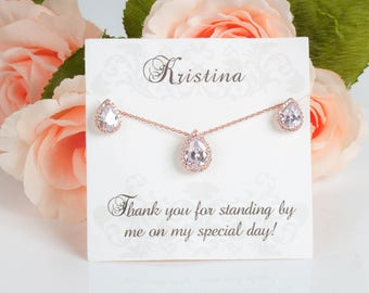 Rose Gold Bridesmaid Sets | Bridesmaid Jewelry | Bridal Sets | Bridesmaid Gifts | Personalized Gifts | Wedding Jewelry | Yellow Gold Sets