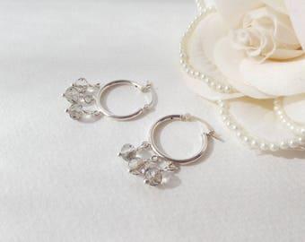 Sterling Silver Hoop Earrings, Black Diamond, Grey Crystal Silver Earrings, Hoop Earrings, Hinged Hoops, Neutral Hinged 925 Silver Earrings.