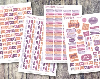 Workout Fitness Planner Stickers   Sticker Planner PACK   356 Stickers!   Peony Pink Workout Stickers   Exercise Workout Stickers