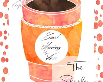 Orange Coffee Cup Watercolor Wall Art Decor