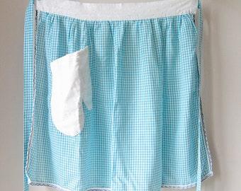 Vintage blue gingham apron, half apron, blue and white apron, apron with pocket, mitt pocket apron, light cotton apron
