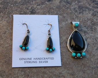 Onyx and Turquoise Pendant and Earrings Set in Sterling Silver