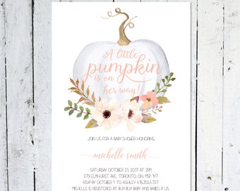 Baby shower invitation girl etsy baby shower invitation girl pumpkin baby shower invitation girl fall pink white little pumpkin floral printable printed filmwisefo